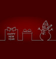 happy new year banner with outline snowman gift vector image