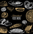 international food menu fusion cuisine vector image