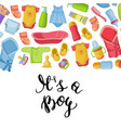 it is a boy with lettering and vector image