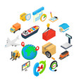 logistics isometric 3d icons vector image
