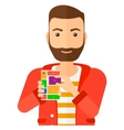 Man with modular phone vector image vector image