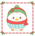 merry christmas cute duck drawing card vector image vector image