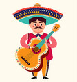 mexican man with guitar vector image vector image