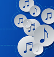 Music Notes Cut in Paper Circles on Blue vector image