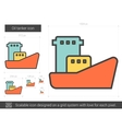 Oil tanker line icon vector image vector image