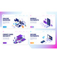 online banking landing page mobile payments vector image vector image