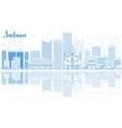Outline Incheon Skyline with Blue Buildings vector image