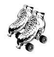 pair of monochrome quad roller skates vector image vector image