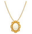 pendant or necklace gold with pearl 1910s vector image
