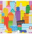Pixel art city seamless pattern vector image