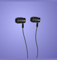 realistic black headphones on colorful background vector image
