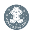 round chistmas greeting with cookie grey vector image vector image