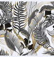 seamless pattern with black and white tropical vector image