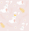seamless pattern with cute bunnies with flowers vector image vector image