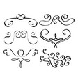 set of decorative calligraphic elements filigreee vector image vector image