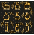 Set of different gold perfume bottles in vector image vector image