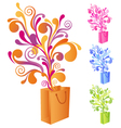 shopping bag with swirly ornaments vector image