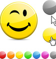 Smiley glossy button vector image vector image
