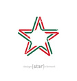 star with Mexico flag colors and grunge effect vector image