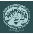 Surfers wear typography emblem Huntington Beach vector image vector image