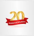 the twentieth anniversary of birth with red ribbon vector image