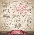 valentines hand lettering set vector image vector image