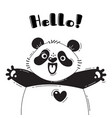 with joyful panda who shouts - hello vector image vector image