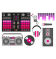 with pink dj accessories dj vector image
