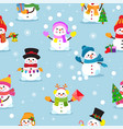 snowman cartoon winter christmas character vector image
