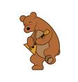 bear is playing a musical instrument balalaika vector image