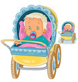 a baby lies in a pram and vector image vector image