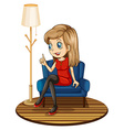 A girl sitting at the blue couch vector image