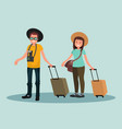 a man and woman with suitcases vector image