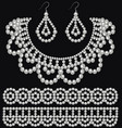 a set of pearl earrings and necklace and ornament vector image vector image
