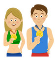athletes showing their gold medals vector image