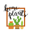 banner with home green plant cactus vector image vector image