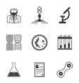 Black icons for bacteriology vector image vector image