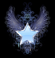 blue star on a dark background vector image vector image