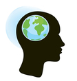 Brain and globe concept vector image vector image