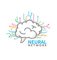 brain logo design neural network logotype on vector image vector image