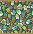 cactus and succulent plants seamless pattern vector image