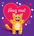 cartoon cat ready for a hugging vector image