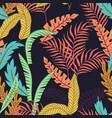 cartoon tropical leaf seamless pattern black vector image vector image