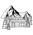 chalet in mountains vector image vector image