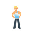 cheerful sailor man character in striped vest vector image vector image