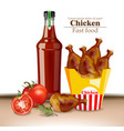 chicken wings and ketchup bottle realistic vector image vector image