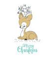 christmas a cute little deer merry vector image vector image