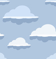Cloud seamless pattern on blue background vector image