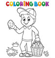 coloring book boy with easter eggs 1 vector image vector image