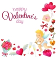 Corner frame with Valentines Day icons vector image vector image
